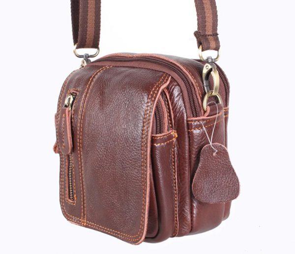 Мужская кожаная сумка коричневая