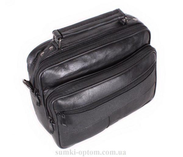 Мужская кожаная сумка под документы черного цвета