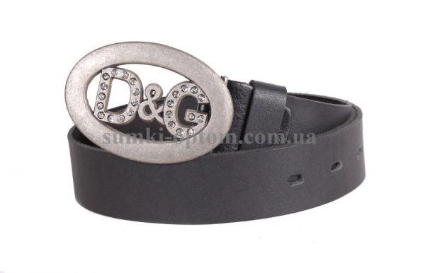 Добротный мужской кожаный ремень с бляхой D&G