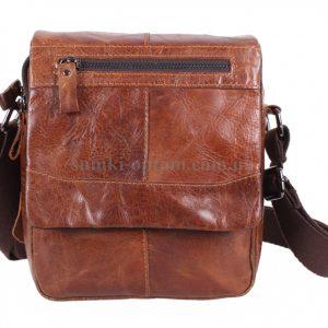 Вместительная мужская сумка из натуральной кожи коричневого цвета