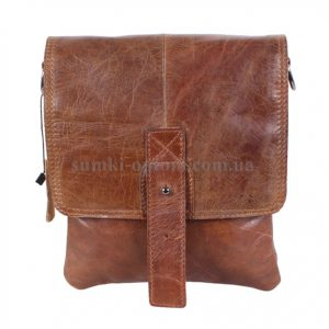 Компактная мужская сумка через плечо коричневого цвета